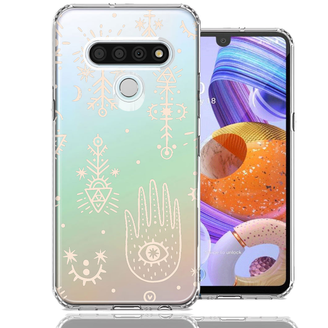 LG Stylo 6 Hamsa Amulet Design Double Layer Phone Case Cover