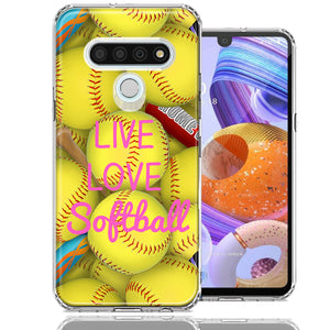 LG K51 Love Softball Design Double Layer Phone Case Cover