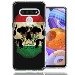 LG Stylo 6 Mexico Flag Skull Design Double Layer Phone Case Cover