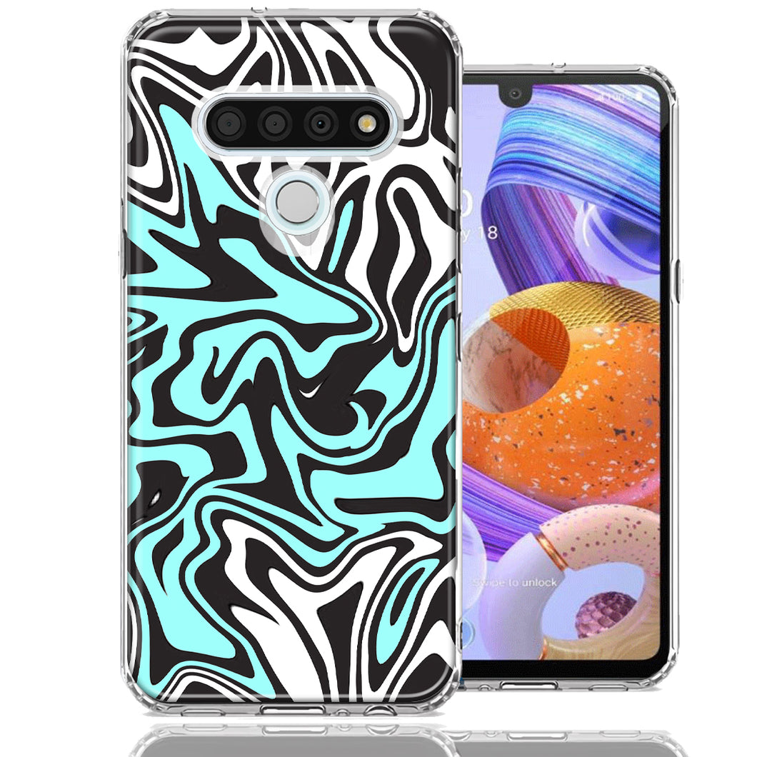 LG K51 Mint Black Abstract Design Double Layer Phone Case Cover