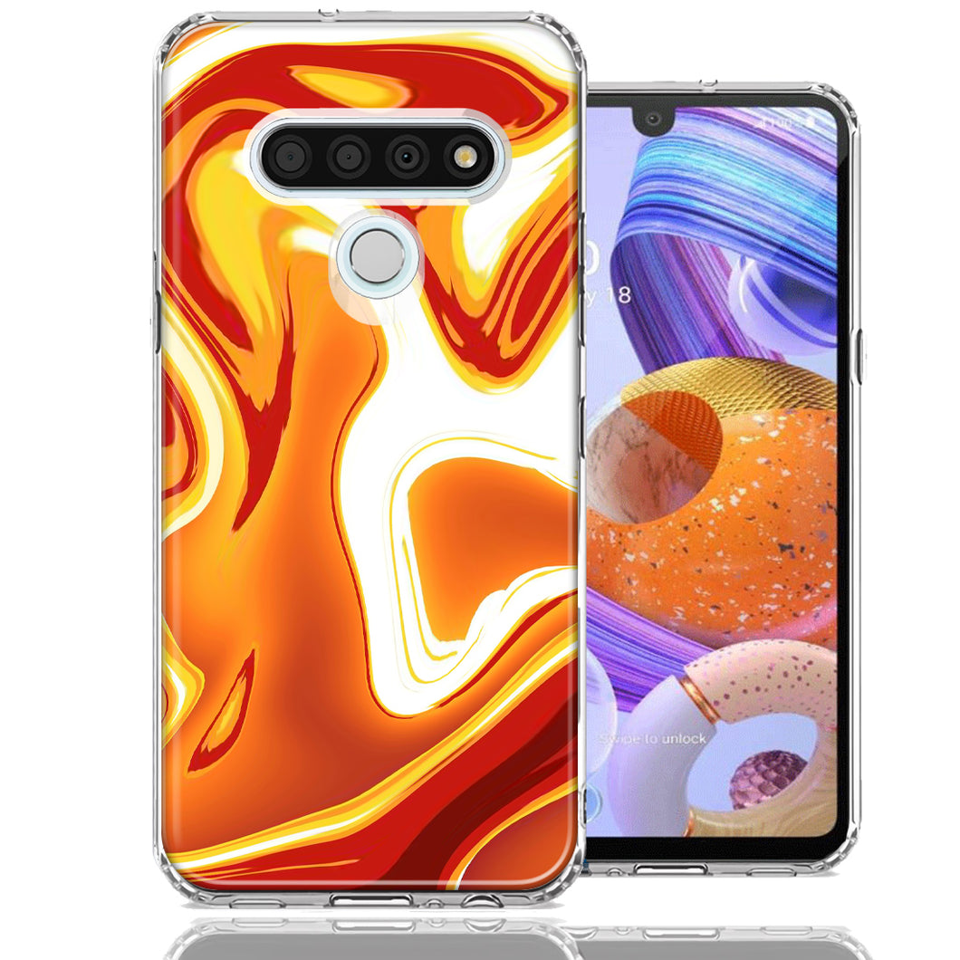 LG K51 Orange White Abstract Design Double Layer Phone Case Cover