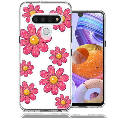 LG Stylo 6 Pink Daisy Flower Design Double Layer Phone Case Cover