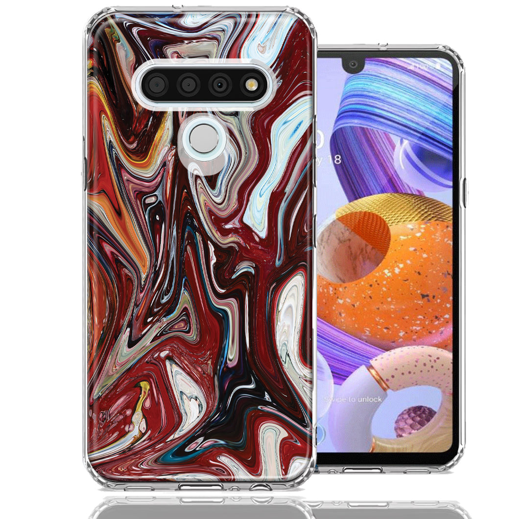 LG Stylo 6 Red White Abstract Design Double Layer Phone Case Cover