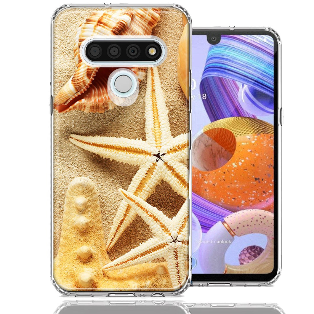 LG K51 Sand Shells Starfish Design Double Layer Phone Case Cover