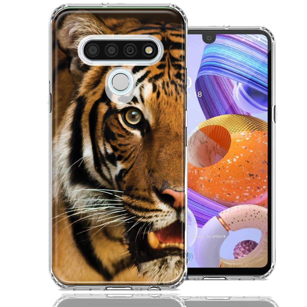 LG K51 Tiger Face Design Double Layer Phone Case Cover