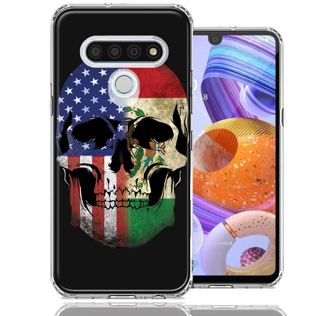 LG K51 US Mexico Flag Skull Double Layer Phone Case Cover