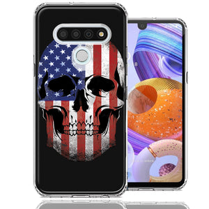LG Stylo 6 US Flag Skull Double Layer Phone Case Cover