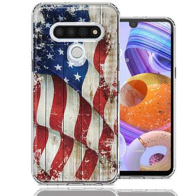LG Stylo 6 Vintage American Flag Design Double Layer Phone Case Cover
