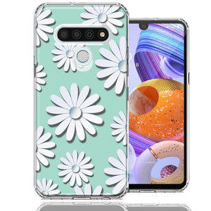 LG Stylo 6 White Teal Daisies Design Double Layer Phone Case Cover
