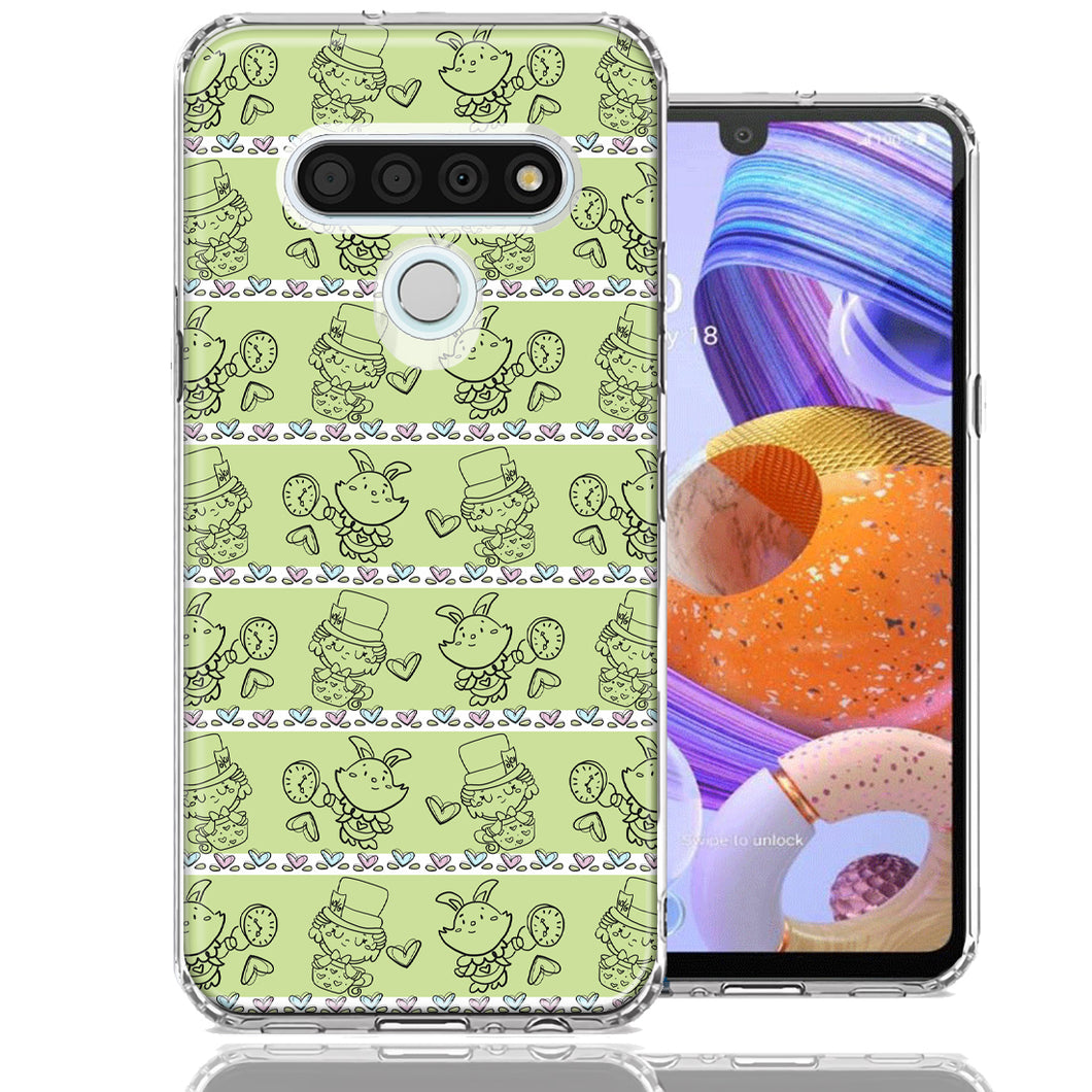 LG Stylo 6 Wonderland Hatter Rabbit Design Double Layer Phone Case Cover