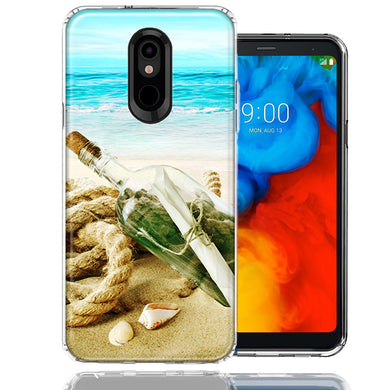LG K40/Harmony 3 Beach Message Bottle Design Double Layer Phone Case Cover