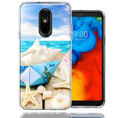 LG K40/Harmony 3 Beach Paper Boat Design Double Layer Phone Case Cover