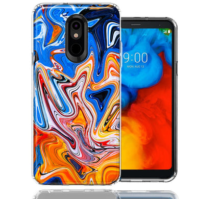 LG K40/Harmony 3 Blue Orange Abstract Design Double Layer Phone Case Cover