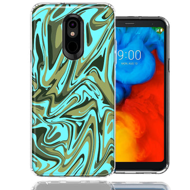 LG K40/Harmony 3 Blue Green Abstract Design Double Layer Phone Case Cover