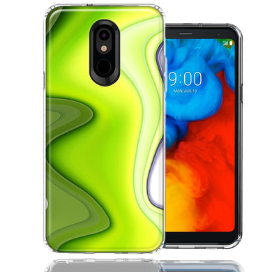 LG Stylo 5 Green White Abstract Design Double Layer Phone Case Cover