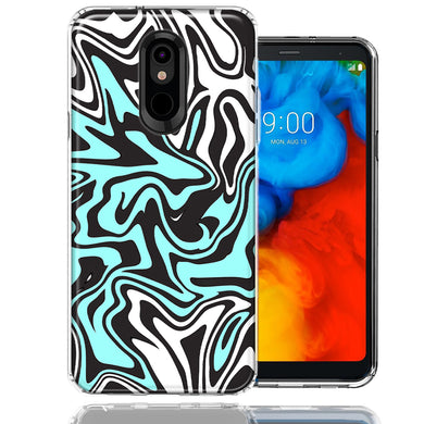 LG Stylo 5 Mint Black Abstract Design Double Layer Phone Case Cover