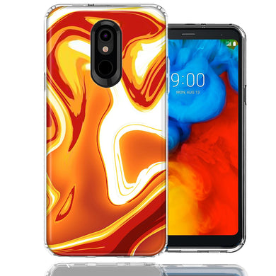 LG K40/Harmony 3 Orange White Abstract Design Double Layer Phone Case Cover