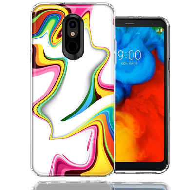 LG K40/Harmony 3 Rainbow Abstract Design Double Layer Phone Case Cover