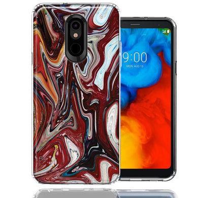 LG Stylo 5 Red White Abstract Design Double Layer Phone Case Cover