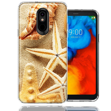 LG K40/Harmony 3 Sand Shells Starfish Design Double Layer Phone Case Cover