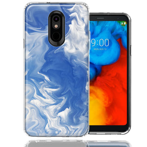 LG Stylo 5 Sky Blue Swirl Design Double Layer Phone Case Cover
