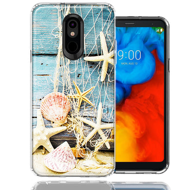 LG K40/Harmony 3 Starfish Net Design Double Layer Phone Case Cover