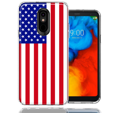 LG Stylo 5 USA American Flag  Design Double Layer Phone Case Cover