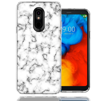 LG Stylo 5 White Grey Marble Design Double Layer Phone Case Cover