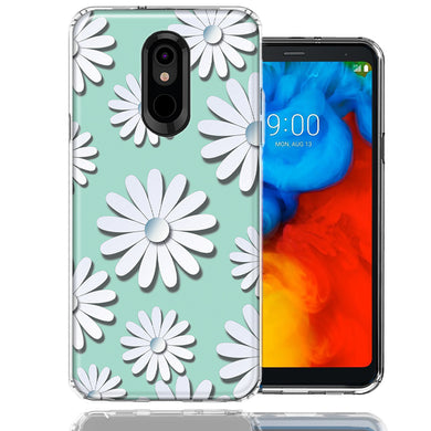 LG Aristo 2/3/Zone 4/Fortune 2/Risio 3/Tribute Dynasty/Empire White Teal Daisies Design Double Layer Phone Case Cover
