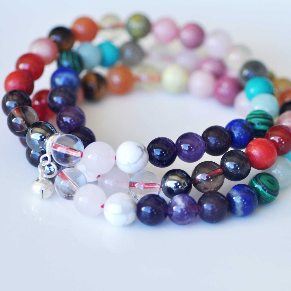 Rainbow Bracelet Stack - Balance & Protection with FREE CHAKRA DECK