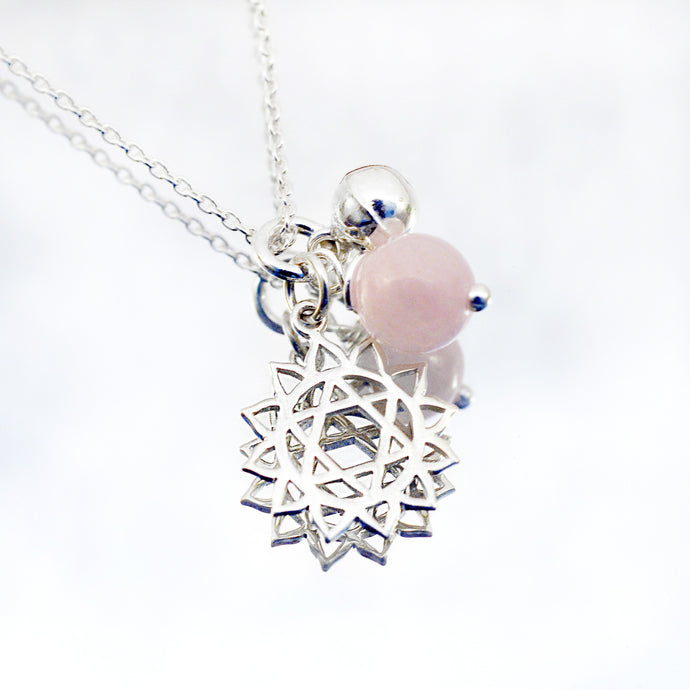 heart chakra symbol necklaces with rose quartz - i Love Chakra