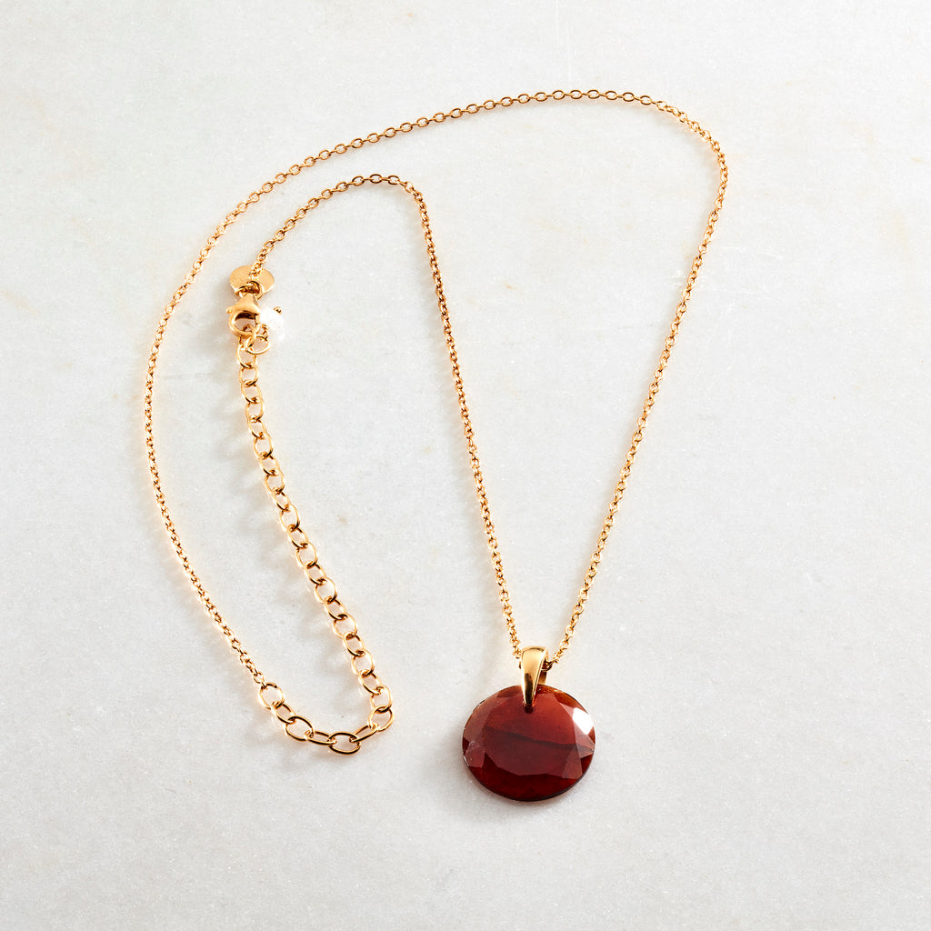 Crystal Coin Necklaces - Rust Garnet - i Love Chakra
