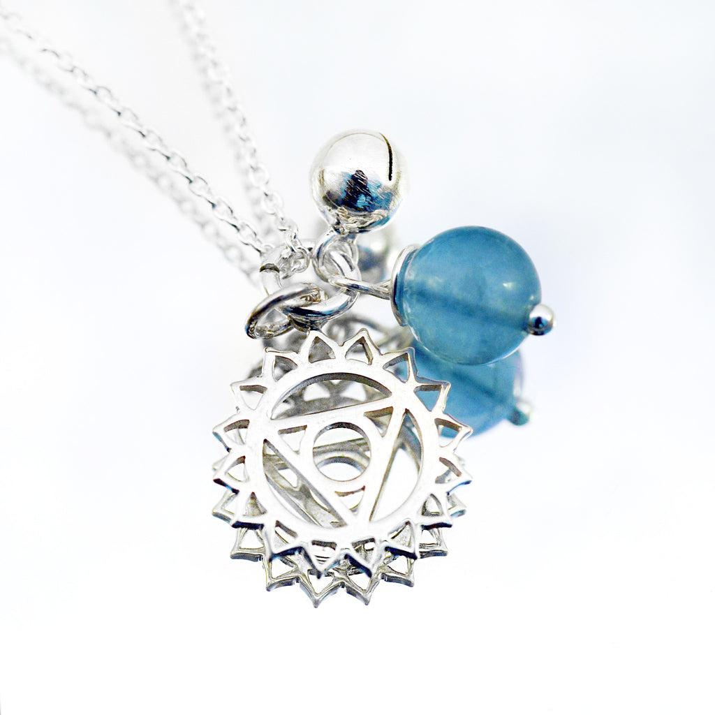 Throat Chakra Symbol Necklace with Blue Fluorite - i Love Chakra