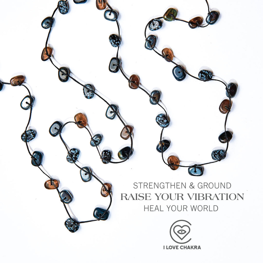 Root Chakra Stones Crystal Wrap Necklace - Support & Stability - i Love Chakra
