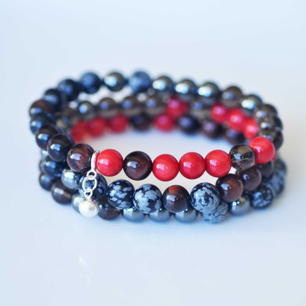 Root Chakra Bracelet Stack - Grounding & Strength with FREE CHAKRA DECK