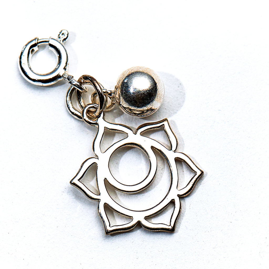 Silver Lotus Flower & Bell Charm - Sacral Chakra - i Love Chakra