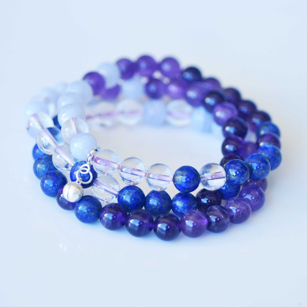 Third Eye Chakra Bracelet Stack - Intuition & Trust with FREE CHAKRA DECK