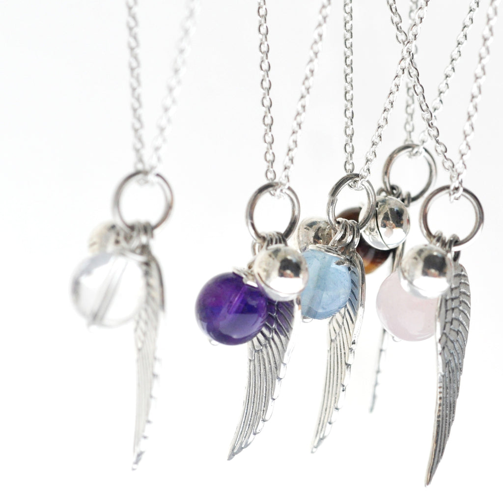 Angel Wings & Birth Stone Necklace - i Love Chakra