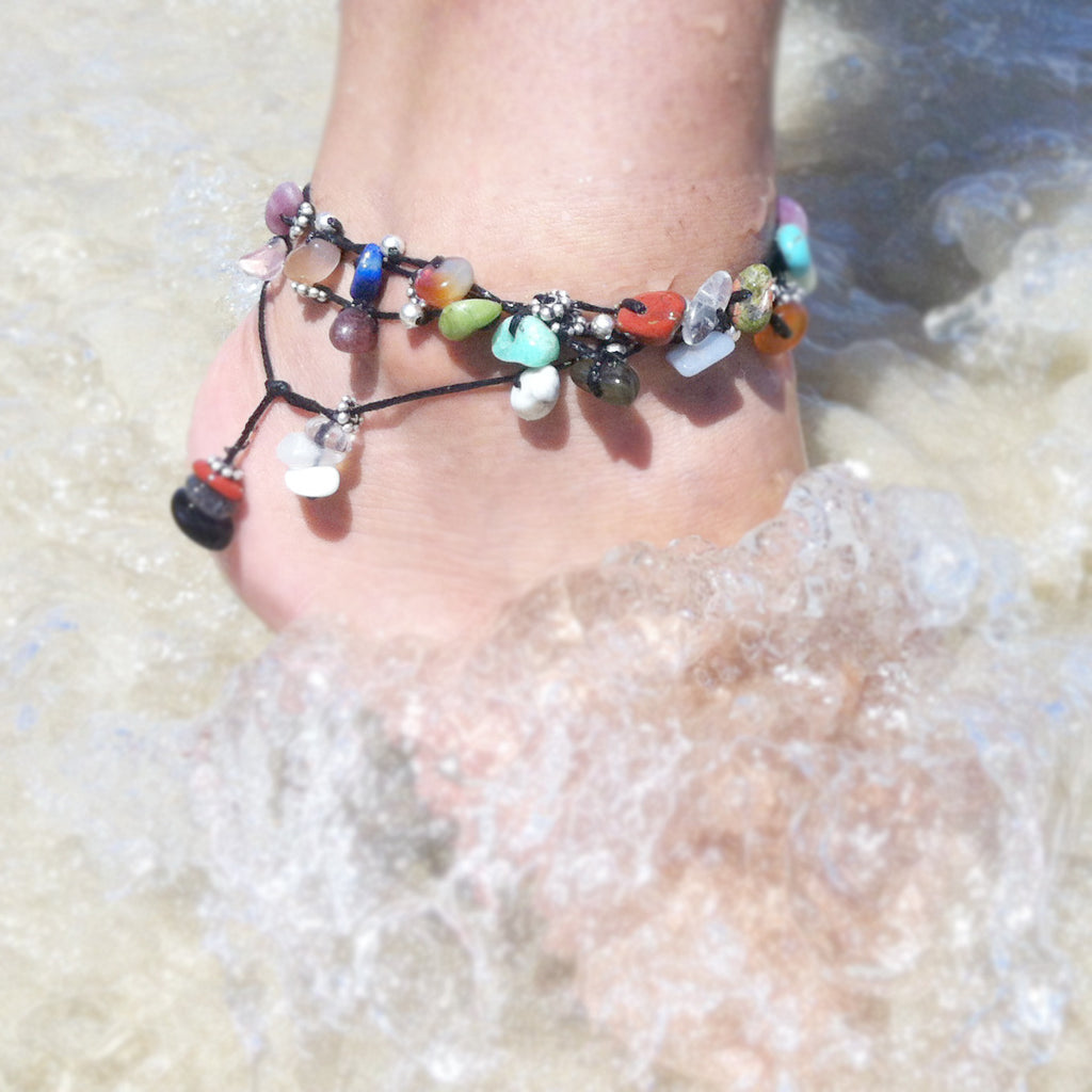 crystal anklet with alternate metal beads - i Love Chakra