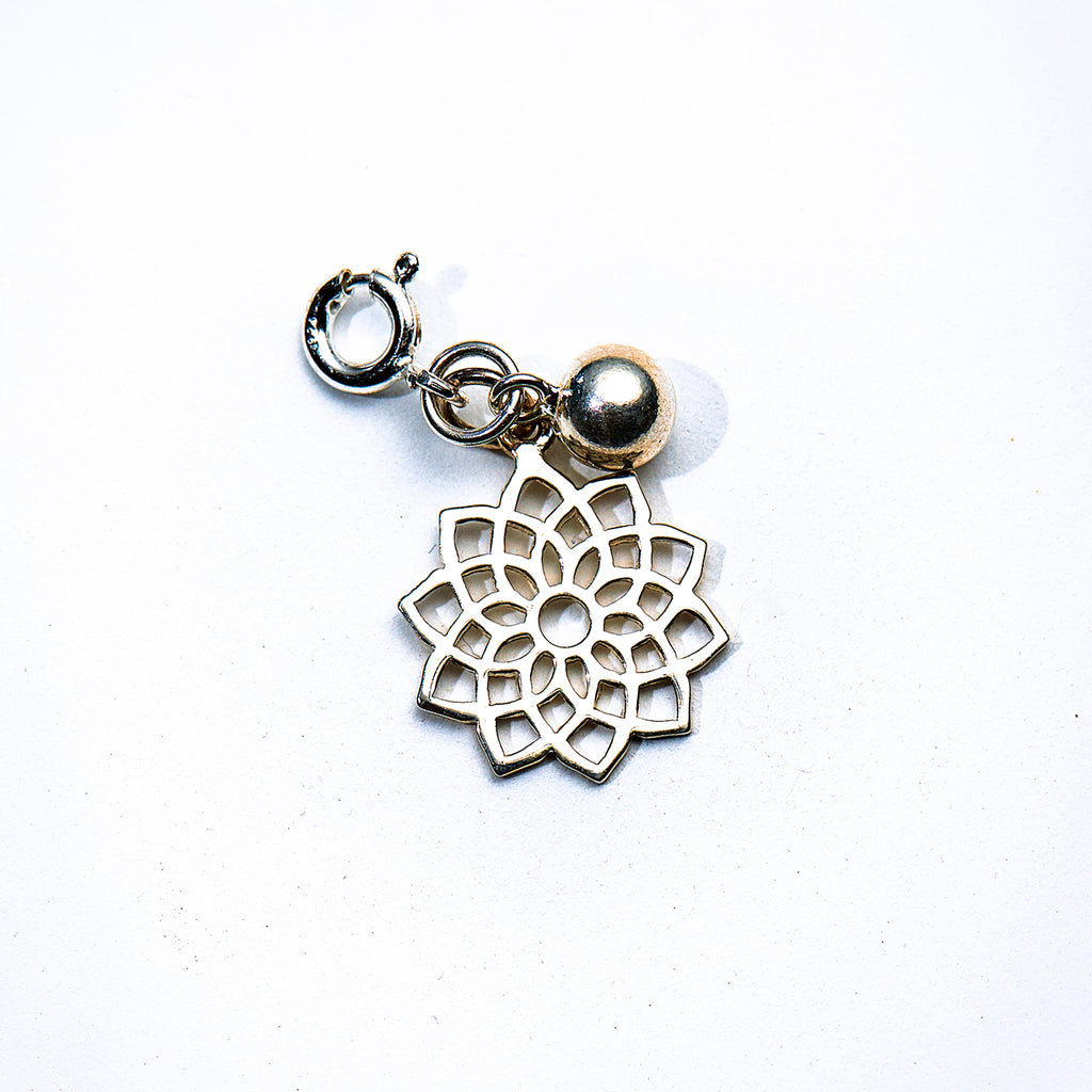 Silver Lotus Flower & Bell Charm - i Love Chakra