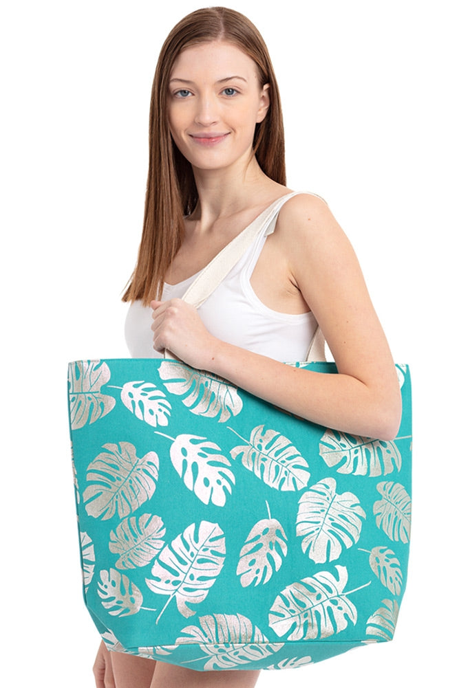 Foil Leaves Tote