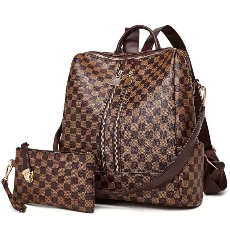 Checkered Backpack Set