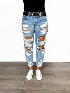 Double Sided Highly Distressed Denim