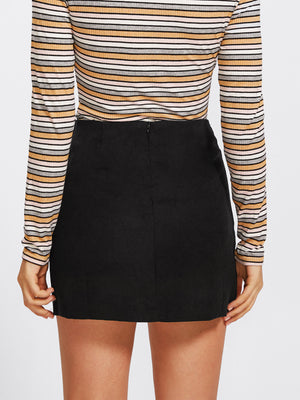 Grommet Lace Up Detail Skirt