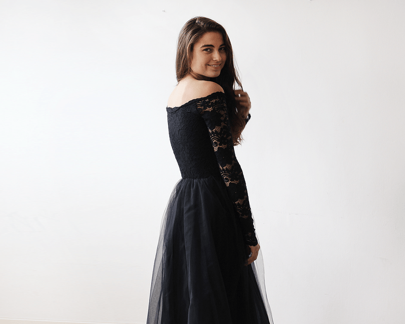 8555a44a0 ... Black Off-The-Shoulder Lace and Tulle Maxi Dress 1134
