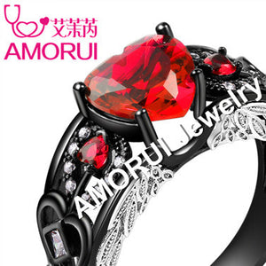 AMORUI Angel Wings Black Wedding Rings for Ladies/Women Fashion AAA Zircon Birthstone Engagement Ring