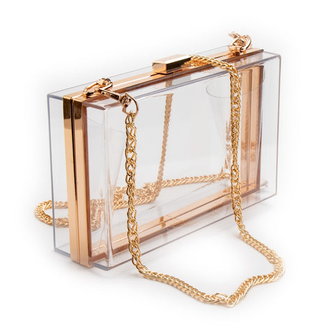 Women's Acrylic Clear Transparent Crossbody Purse Bag, Lucite See Through Evening Clutch Handbag
