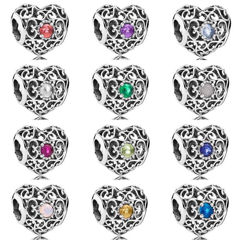 Month Signature Heart Birthstone With Crystal Charm Beads