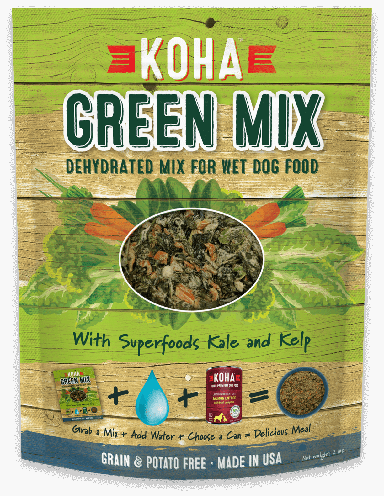 Green Mix - Dehydrated Mix for Wet & Raw Dog Food - 2 lb. Bag