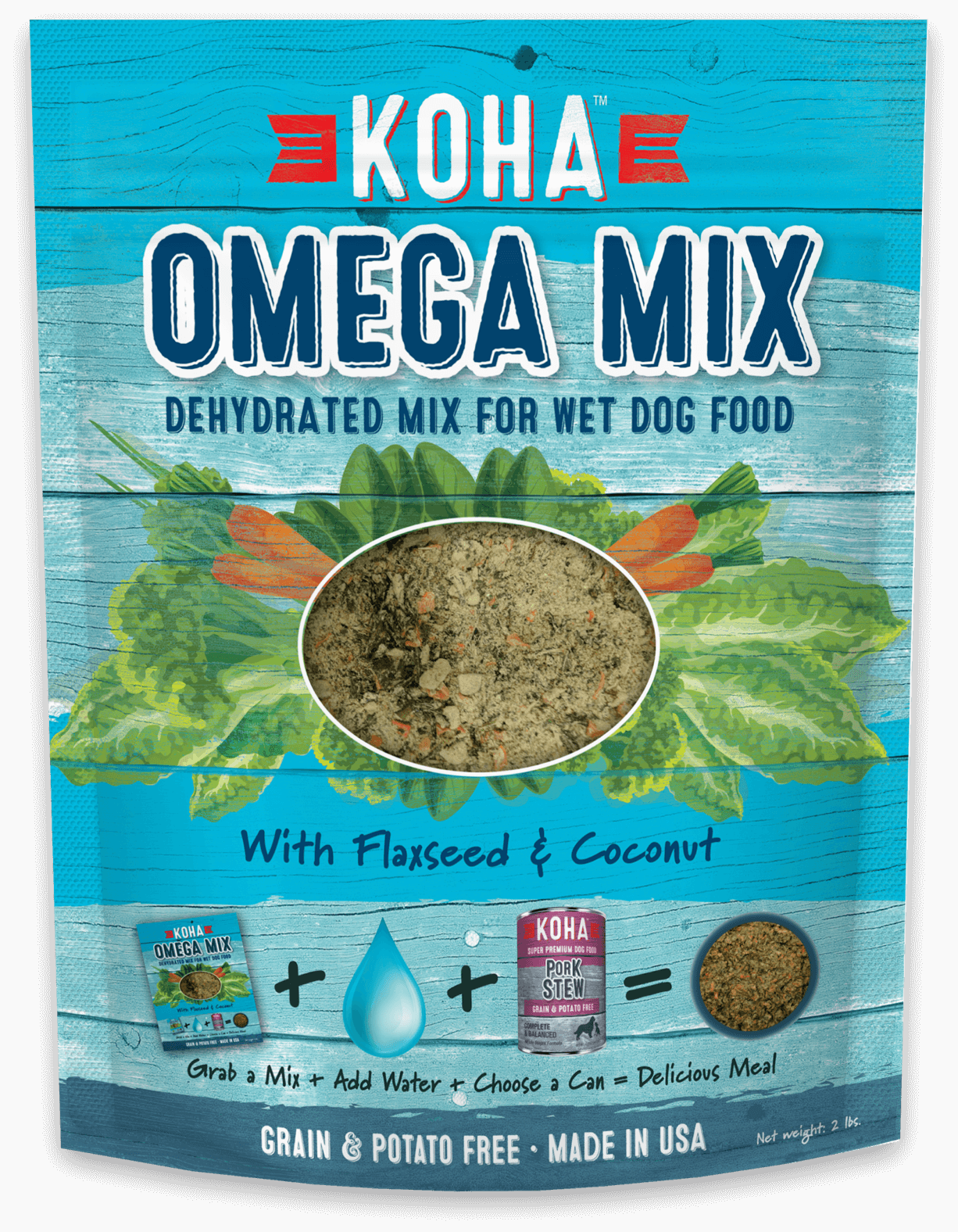 Omega Mix - Dehydrated Mix for Wet & Raw Dog Food - 2 lb. Bag